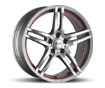 ADVANTI-RACING STARLINE GRAPHITE MATT POLISH WITH RED UNDERCUT LINE Felgen