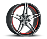 BARRACUDA STARZZ MATT BLACK POLISHED - UNDERCUT COLOR TRIM ROT Felgen