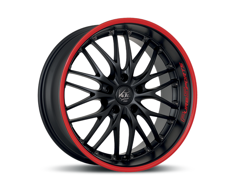 BARRACUDA VOLTEC T6 MATT BLACK PURESPORTS - COLOR TRIM ROT Felgen