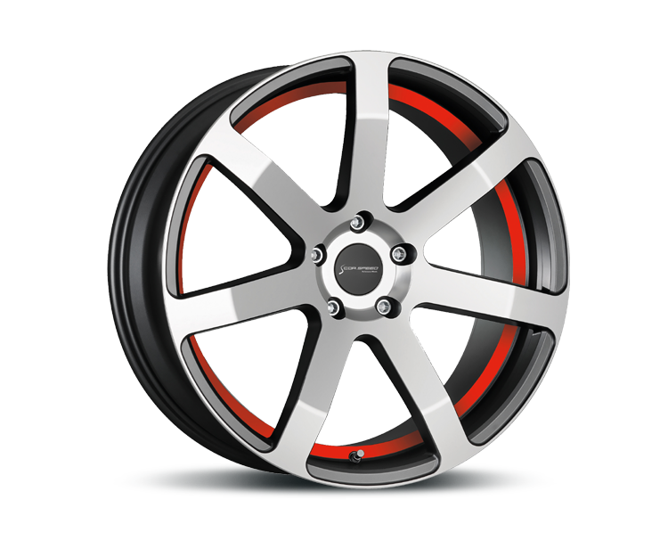 CORSPEED CHALLENGE HIGH GLOSS GUNMETAL POLISHED - UNDERCUT COLOR TRIM ROT Felgen
