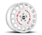 OZ RALLY RACING WEISS LACKIERT & ROTE SCHRIFT