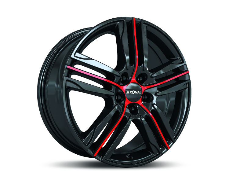 RONAL R57 JETBLACK-RED SPOKE Felgen