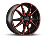SPEEDLINE SL6 VETTORE JET BLACK MATT RED SPOKE Felgen