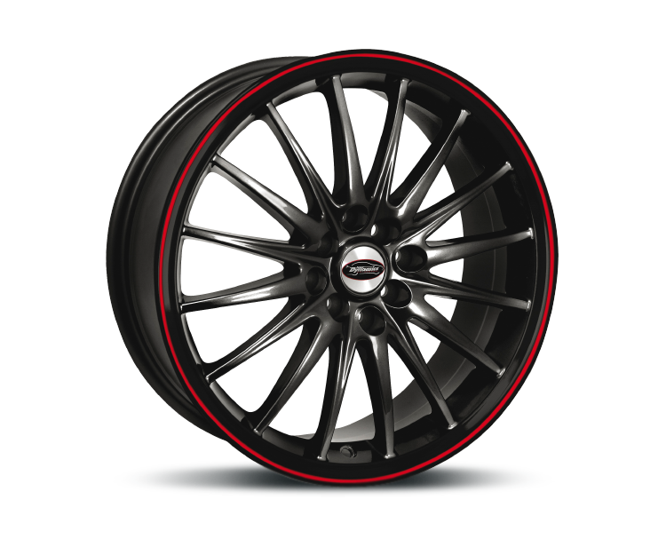TEAM-DYNAMICS JET RS GLOSS-BLACK & FELGENHORN ROT Felgen