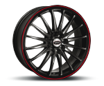 TEAM-DYNAMICS JET-RS GLOSS-BLACK & FELGENHORN ROT Felgen